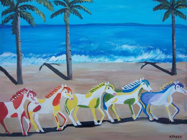 Horses Poster featuring the painting Colored Art Horses by Aleta Parks