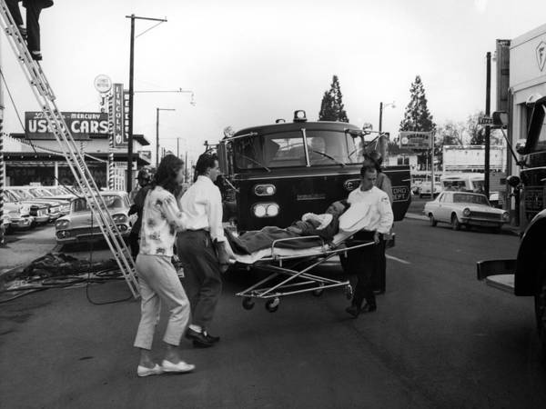 Fire Poster featuring the photograph Fire Department Rescue Circa 1960 Black White by Mark Goebel