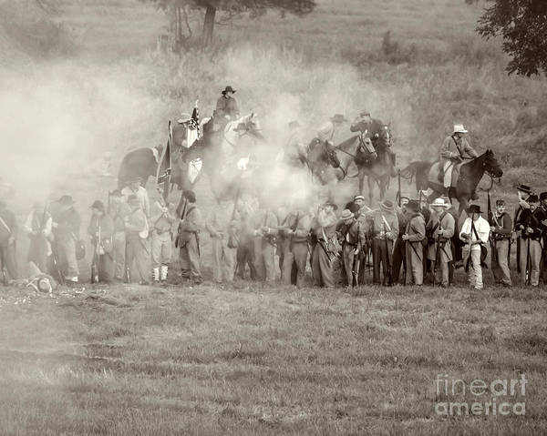 150th Poster featuring the photograph Gettysburg Confederate Infantry 7503s by Cynthia Staley