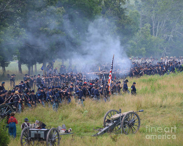 150th Poster featuring the photograph Gettysburg Union Artillery And Infantry 8456c by Cynthia Staley
