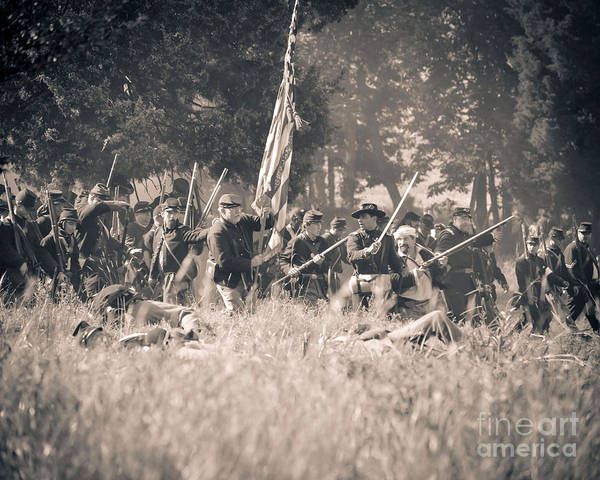150th Poster featuring the photograph Gettysburg Union Infantry 9348s by Cynthia Staley