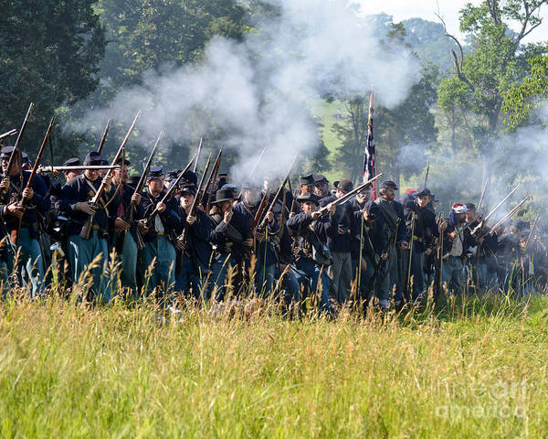 150th Poster featuring the photograph Gettysburg Union Infantry 9360c by Cynthia Staley