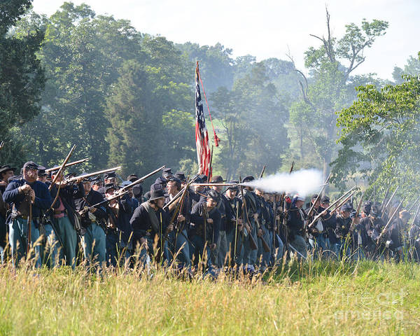 150th Poster featuring the photograph Gettysburg Union Infantry 9372c by Cynthia Staley