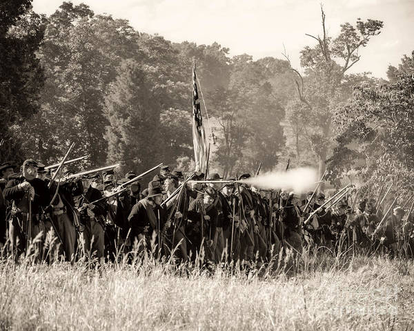 150th Poster featuring the photograph Gettysburg Union Infantry 9372s by Cynthia Staley