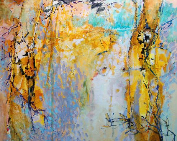 Abstract Poster featuring the painting Golden Alders Sketch by Dale Witherow