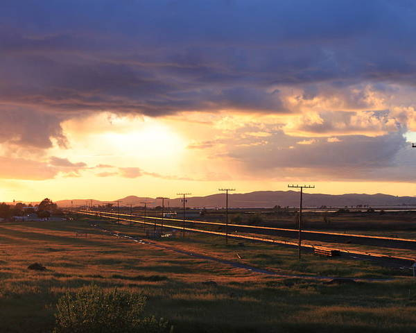 Sunset Poster featuring the photograph Last Light On The Railroad by Remegio Onia