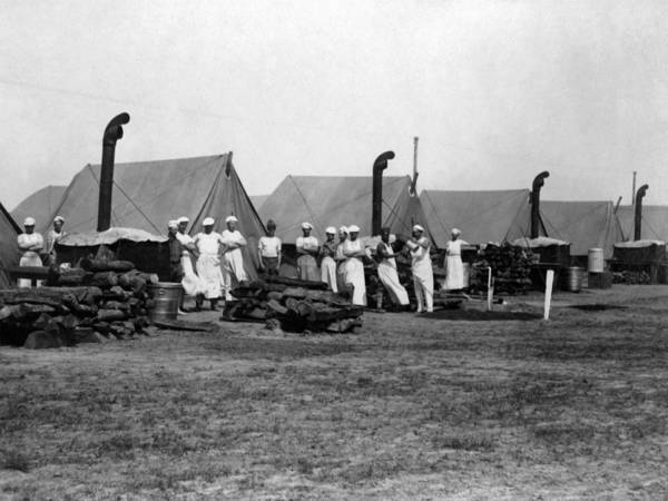 Military Poster featuring the photograph Military Cooks Next Stoves Tents Wood Circa 1910 by Mark Goebel