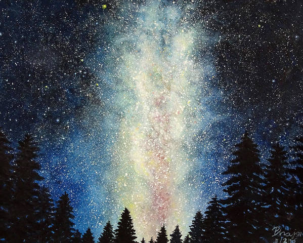 Milky Way Poster featuring the painting Milky Way At Night by Phajon Poomanee
