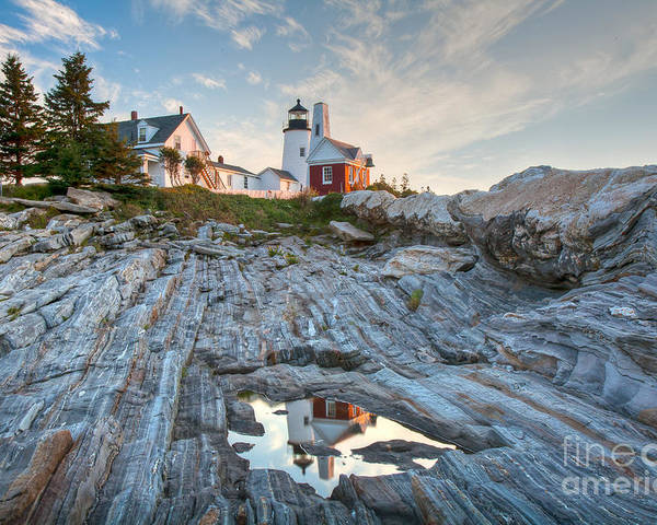 Architecture Poster featuring the photograph Pemaquid Point Reflection by Susan Cole Kelly