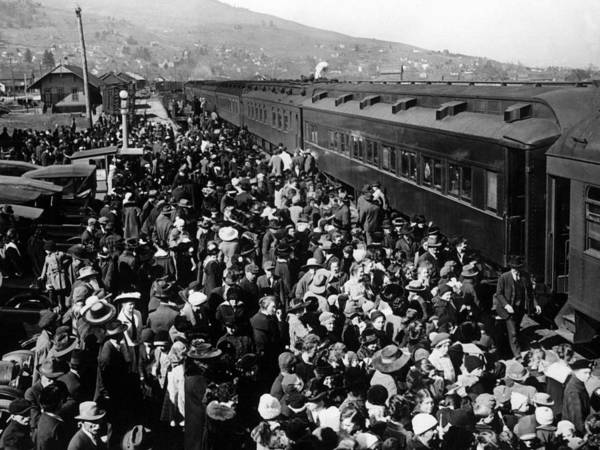 People Poster featuring the photograph People Greeting Troop Train 1918 Black White by Mark Goebel