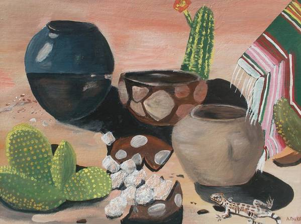 Pottery Poster featuring the painting Pottery In The Desert by Aleta Parks