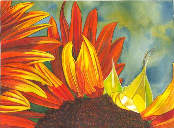 Sunflower Poster featuring the painting Ray by Catherine G McElroy