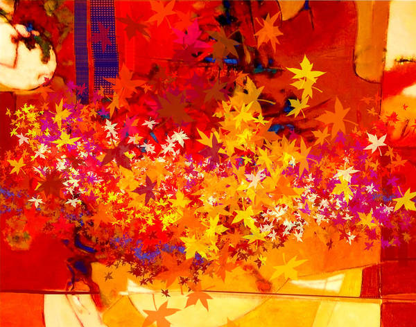 Abstract Poster featuring the painting Red Autumn by Dale Witherow