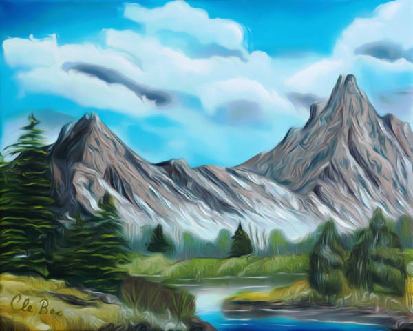 Mountain Poster featuring the painting Rocky Mountain Tranquil Escape Dreamy Mirage by Claude Beaulac