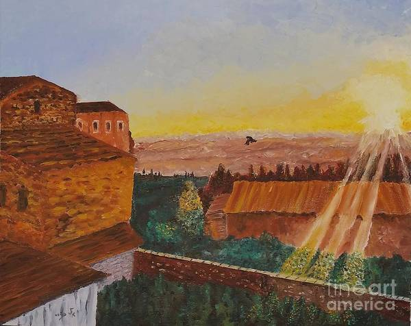 Original Poster featuring the painting San Gimignano Sunrise by Eli Gross