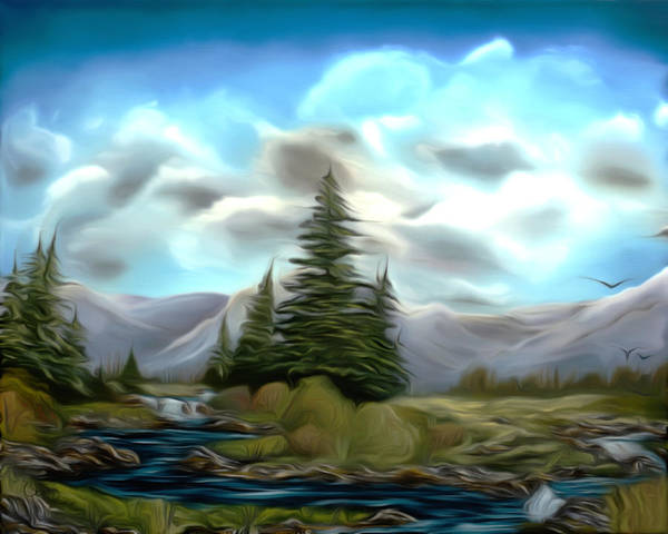 Black Creek Poster featuring the painting Serpentine Creek Dreamy Mirage by Claude Beaulac