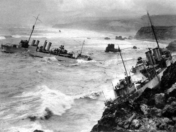Shipwreck Poster featuring the photograph Shipwreck In Rough Seas 1940s Black White by Mark Goebel