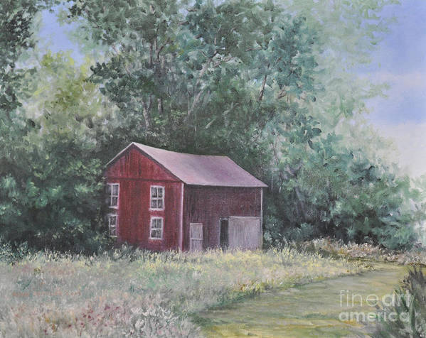 Oil Paintingsof Red Barns Poster featuring the painting Shortys Shed by Penny Neimiller