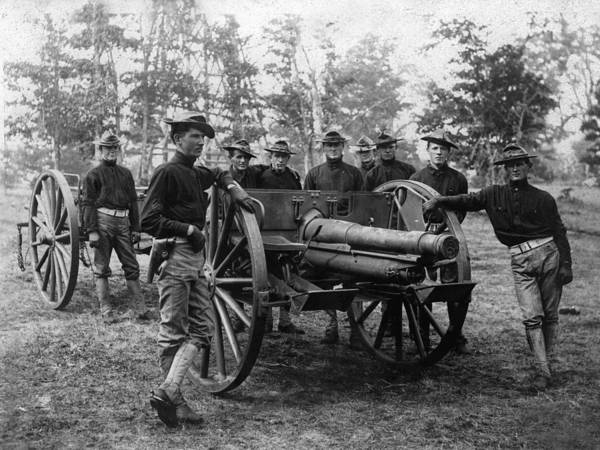Soldiers Poster featuring the photograph Soldiers Cannon 1898 Black White 1890s Archive by Mark Goebel