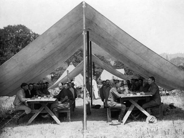 Soldiers Poster featuring the photograph Soldiers Eating In Mess Tent 19061909 Black by Mark Goebel