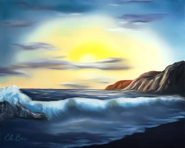 Sunset Poster featuring the painting Sunset Beach Pastel Splash Dreamy Mirage by Claude Beaulac