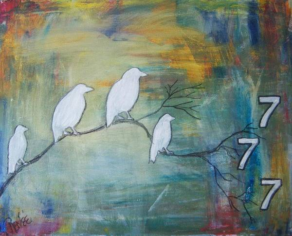 Art. Painting. Mixed Media. Original Painting. Abstract. Surreal .raven .seven Poster featuring the mixed media The Power Of Seven by Renee Gandy