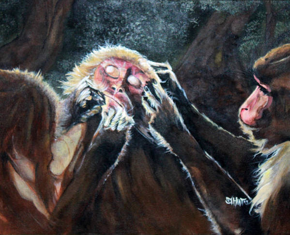 Paintings Poster featuring the painting Three Monkeys by Justin Hiatt
