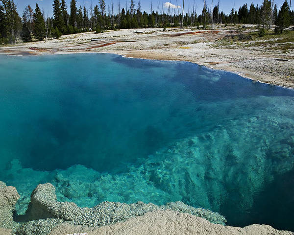 Hot Poster featuring the photograph  Turquoise Hot Springs Yellowstone by Garry Gay