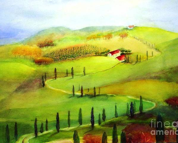 Paintings Poster featuring the painting Tuscany by Maryann Schigur