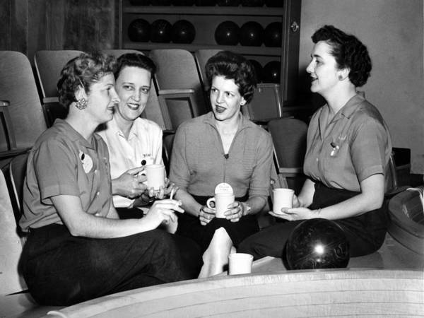 Woman Poster featuring the photograph Woman Female Drinking Coffee Bowling Alley Circa by Mark Goebel
