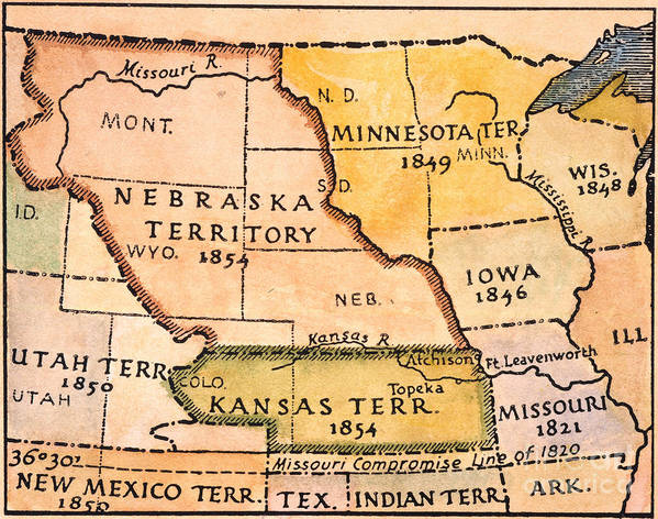 1854 Poster featuring the painting Kansas-nebraska Map, 1854 by Granger