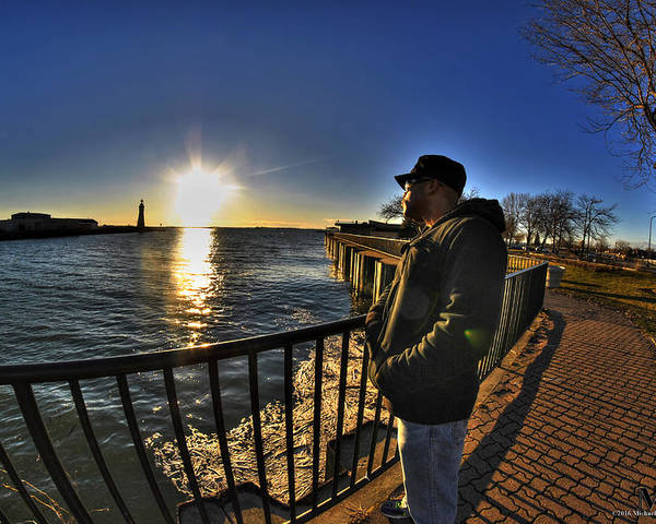 Buffalo Poster featuring the photograph 02 Me Sunset 16mar16 by Michael Frank Jr