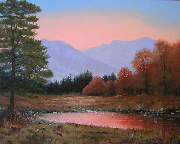 Landscape Poster featuring the painting 051116-3020   First Light Of Day  by Kenneth Shanika