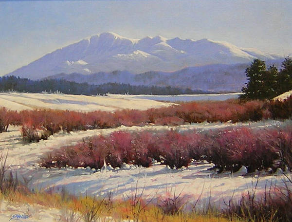 Landscape Poster featuring the painting 051209-1814 Pikes Peak - North View by Kenneth Shanika