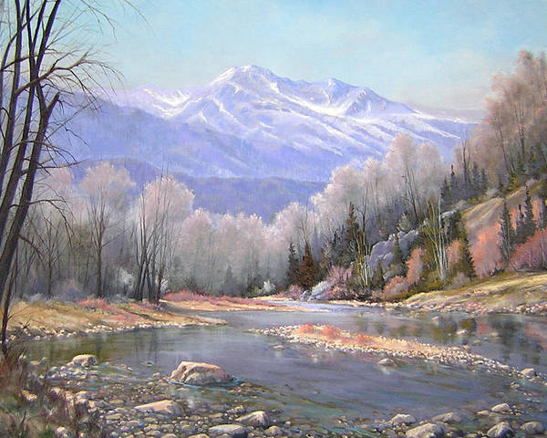 Landscape Poster featuring the painting 060521-3624 Spring In The Rockies by Kenneth Shanika