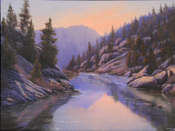 Landscape Poster featuring the painting 071123-1612 Remnants Of The Day In The Canyon by Kenneth Shanika