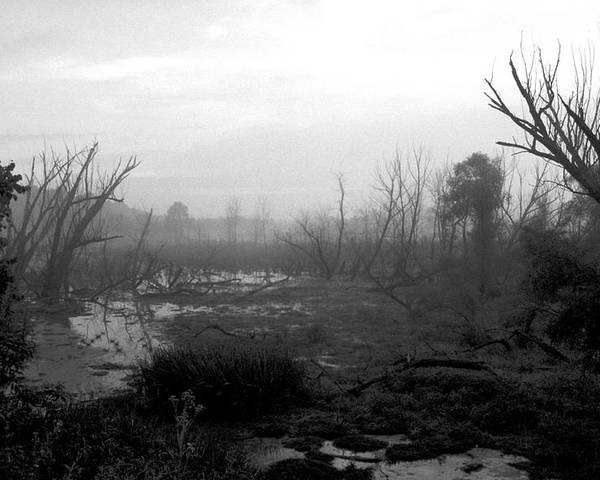 Atmospheric Poster featuring the photograph 072806-23bw A Shortcut Through Mordor by Mike Davis
