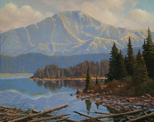Pikes Peak Poster featuring the painting 080612-1620 Holding On To Summer - Study by Kenneth Shanika