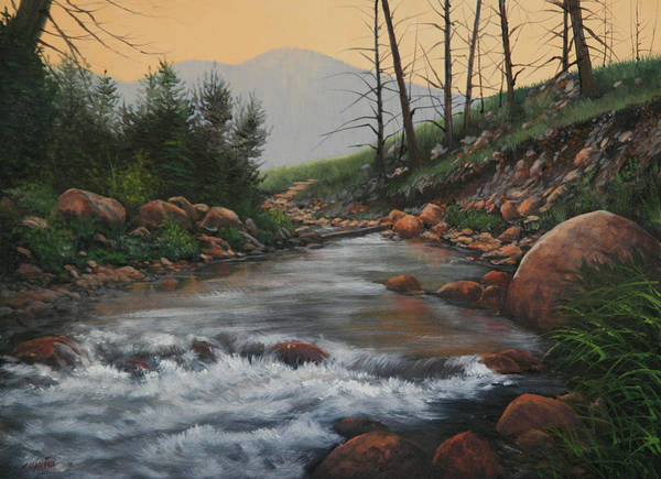 Original Oil Painting Poster featuring the painting 090430-1216  Trout Creek - Spring by Kenneth Shanika