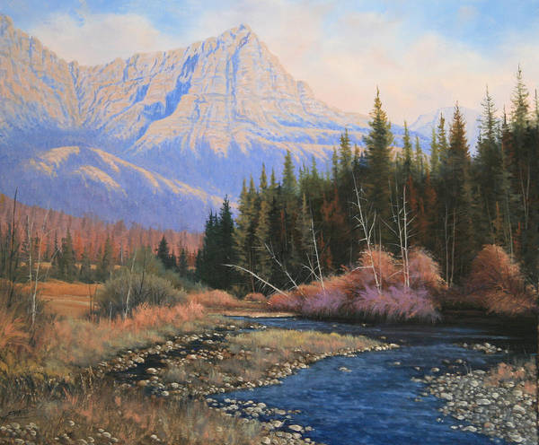 Landscape Poster featuring the painting 091022-2024 Into The Back Country by Kenneth Shanika