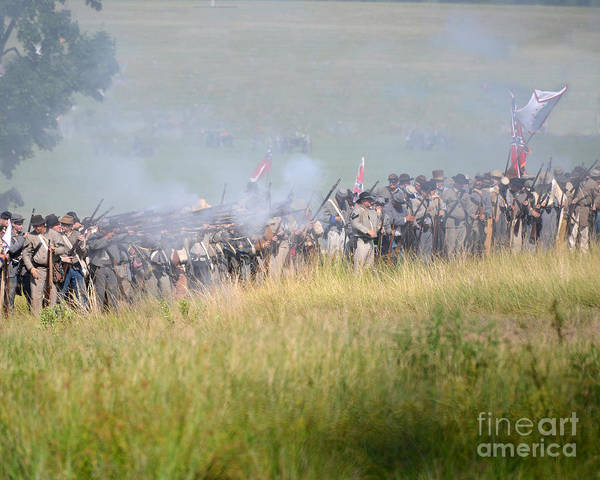 150th Poster featuring the photograph Gettysburg Confederate Infantry 7503c by Cynthia Staley