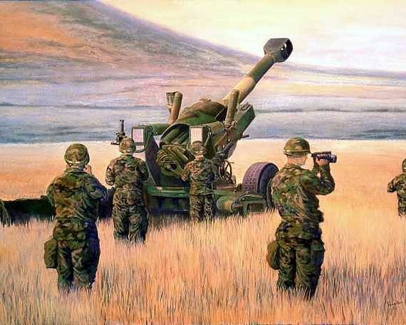 Signed And Numbered Prints Of The Montana National Guard Poster featuring the print 1-190th Artillery by Scott Robertson
