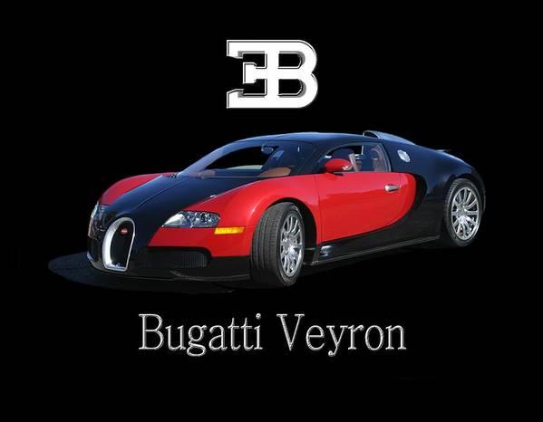 Tee Shirt Photo Art Of A 2010 Bugatti-veyron Poster featuring the painting 2010 Bugatti Veyron by Jack Pumphrey