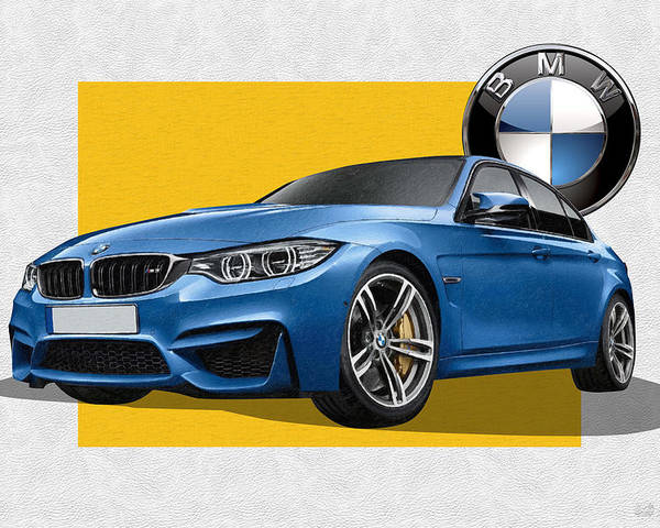 �bmw� Collection By Serge Averbukh Poster featuring the photograph 2016 B M W M 3 Sedan with 3 D Badge by Serge Averbukh