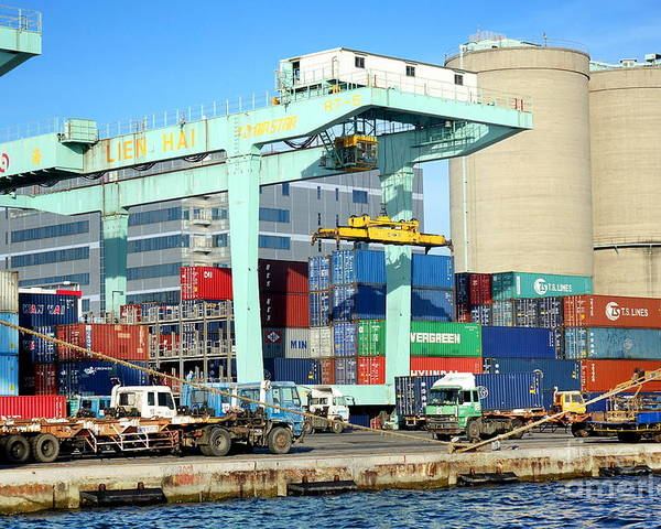 Taiwan Poster featuring the photograph A Container Is Loaded In Kaohsiung Port by Yali Shi