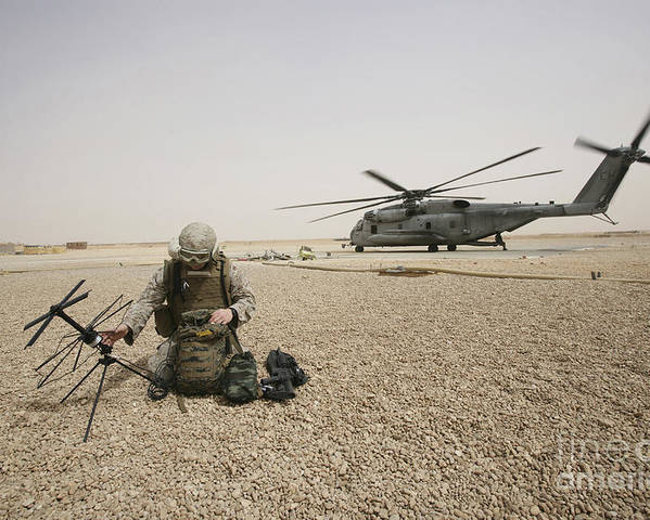 Iraq Poster featuring the photograph A Field Radio Operator Sets by Stocktrek Images