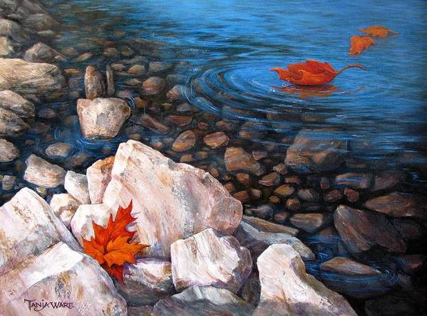 Landscape Poster featuring the painting A Touch Of Fall by Tanja Ware