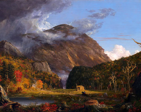 Painting Poster featuring the painting A View Of The Mountain Pass Called The Notch Of The White Mountains by Mountain Dreams