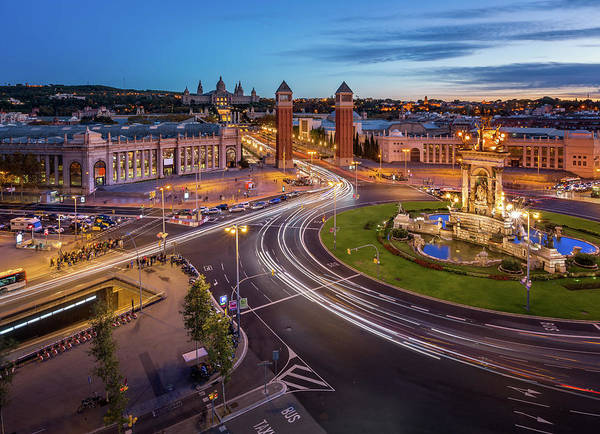 Aerial Poster featuring the photograph Aerial View On Placa Espanya And Montjuic Hill With National Art by Andrey Omelyanchuk