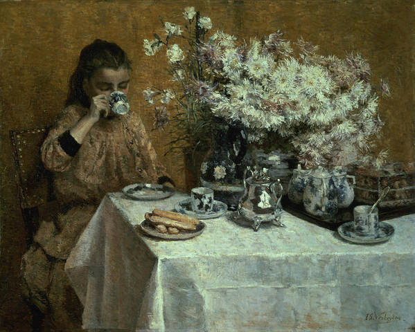Afternoon Poster featuring the painting Afternoon Tea by Isidor Verheyden